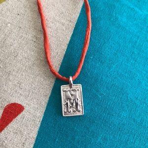 Mizuki Sterling silver letter M pendant diamond
